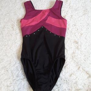 3/$30 Freestyle Danskin pink black dance leotard M